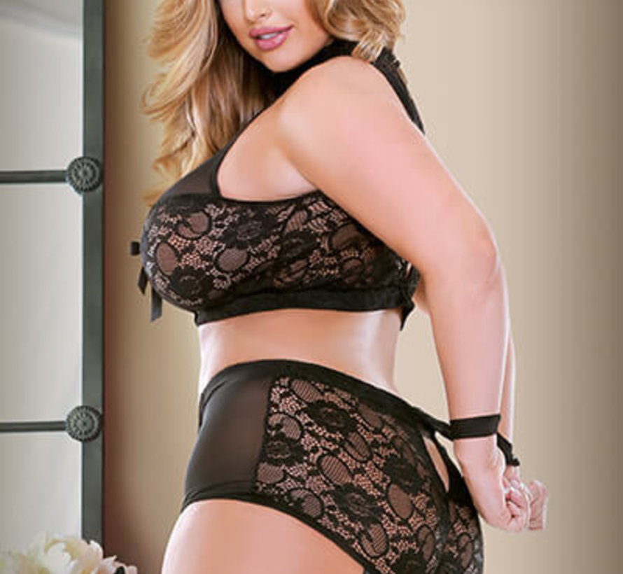 Katia Two Piece Halter Bra Top with Matching Gartered Panty