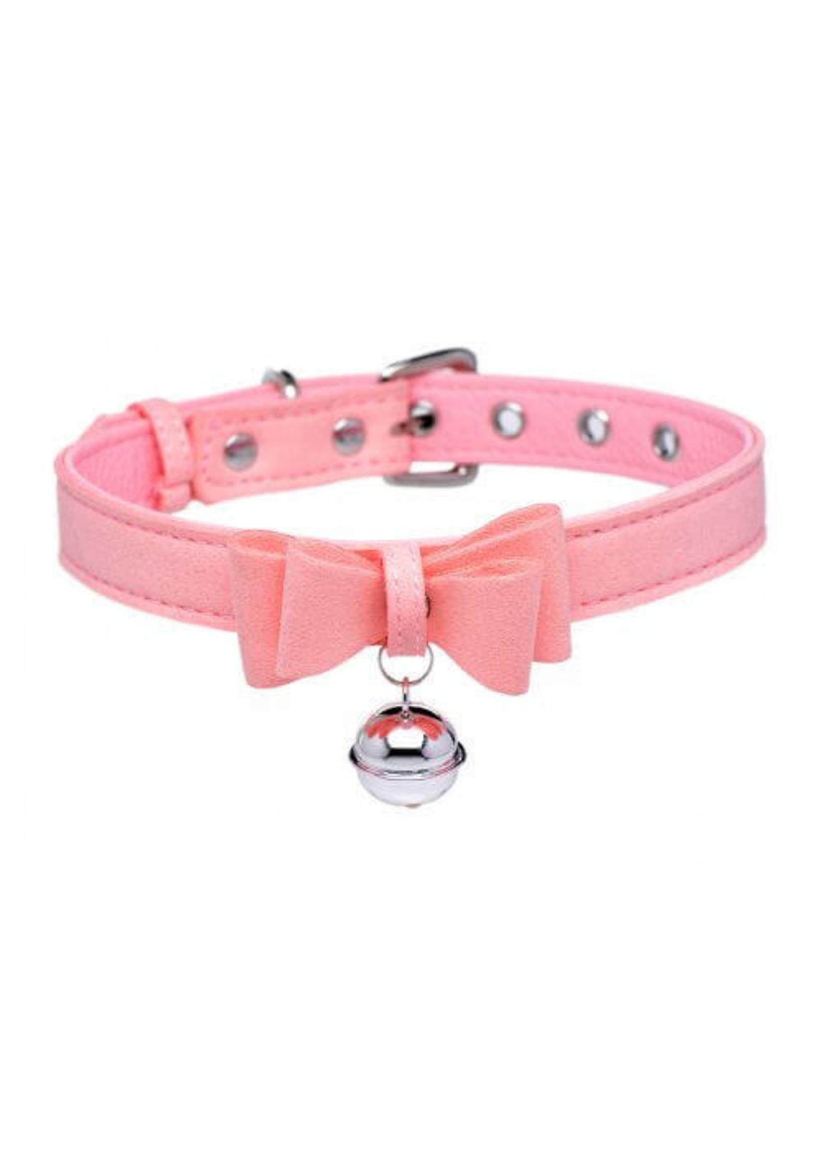 Sugar Kitty Cat Bell Collar - Pink/Silver