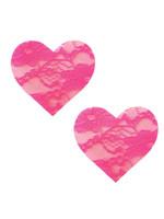 NEVA NUDE Nipztix Heart Bubble Gum -Neon Pink Lace