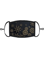 Snowflakes Fabric Face Mask Blk/Gld