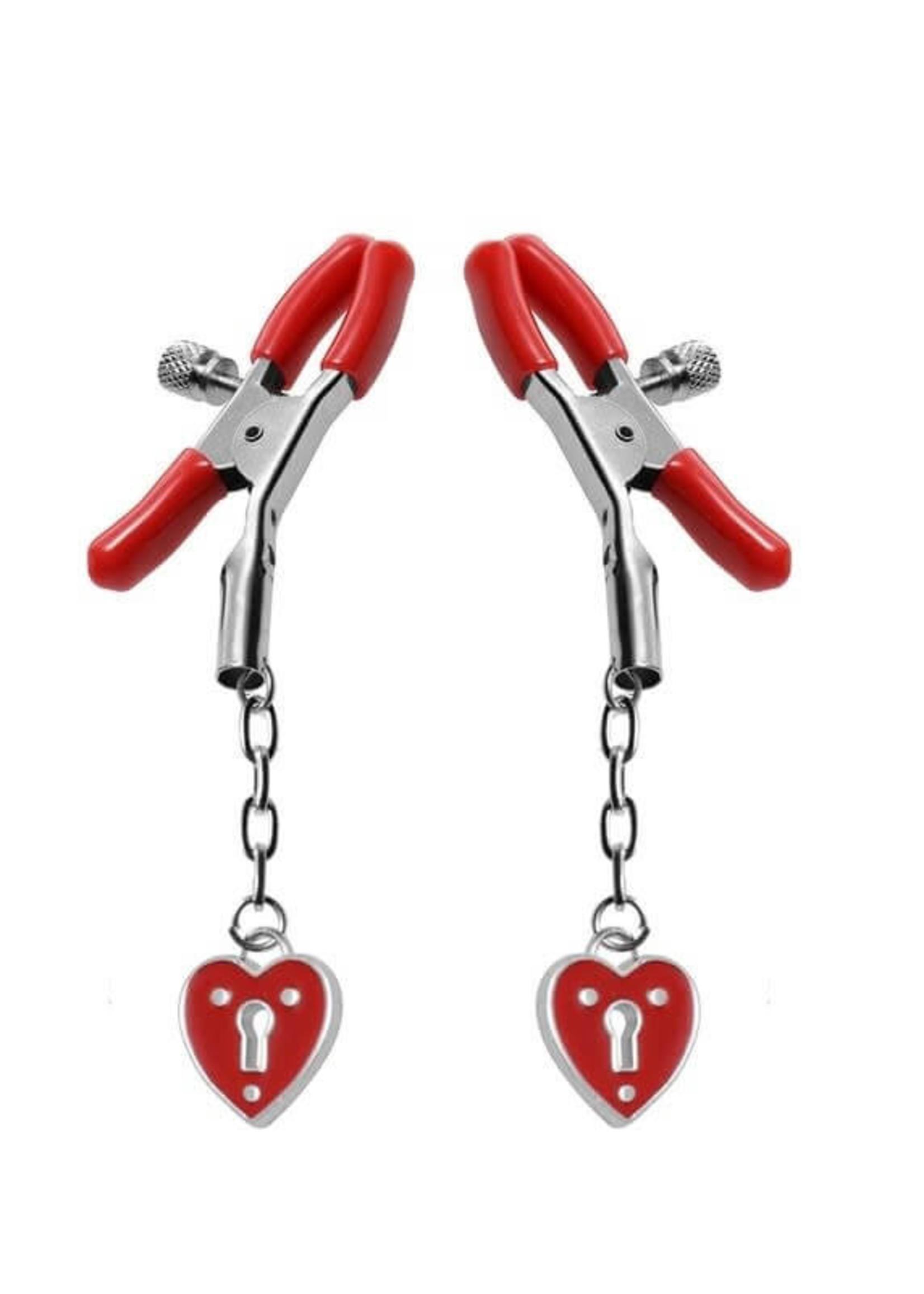 Captive Heart Padlock Nipple Clamps