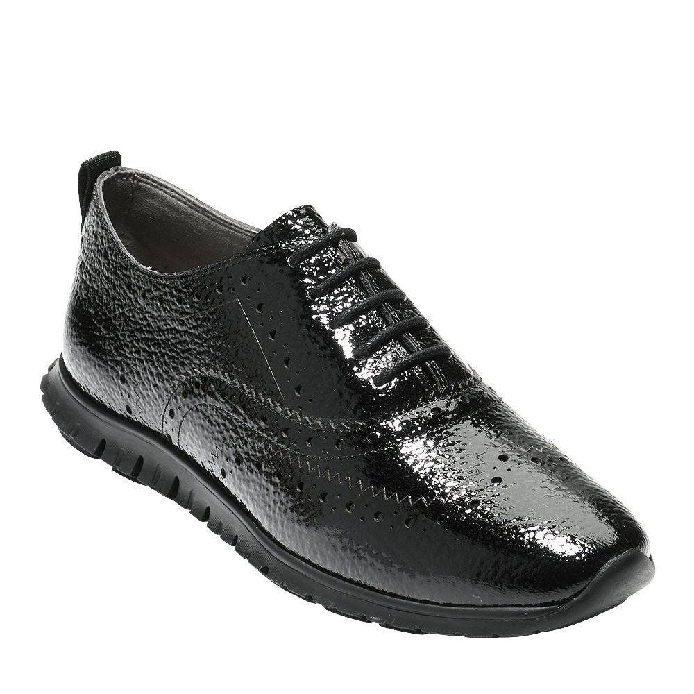 6747c95b6bf4 Cole Haan Cole Haan ZeroGrand Wingtip Oxford Black Bubble Patent Casual  Shoe ...