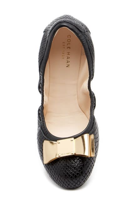 Cole Haan Cole Haan Tali Bow Ballet Black Snake Flat