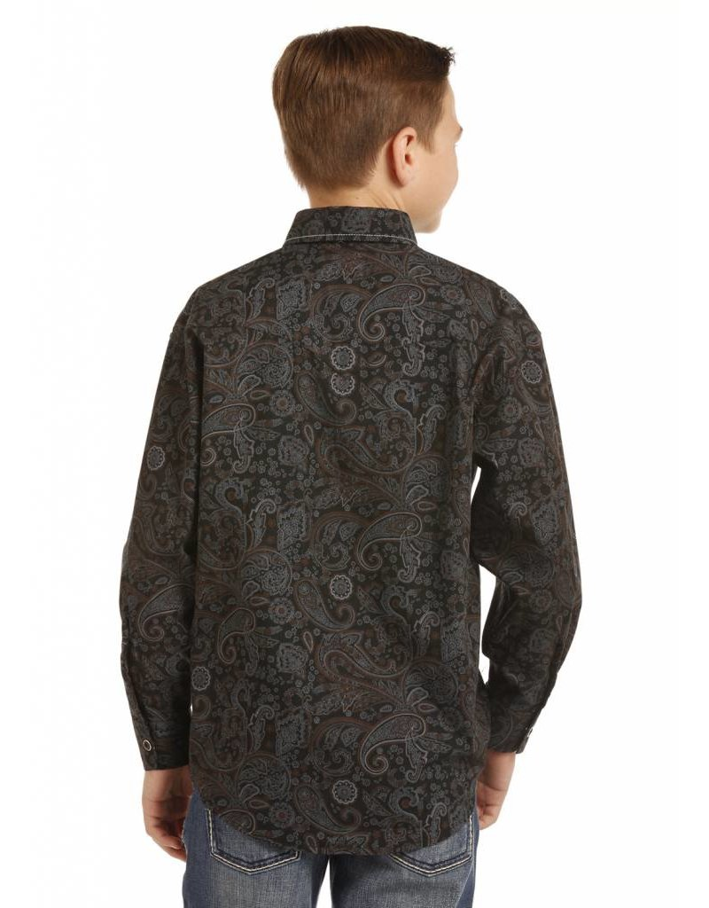 Rock and Roll Cowboy Boys Grey/Paisley LS Snap