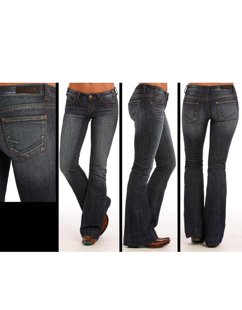 Rock and Roll Cowgirl Rock and Roll Cowgirl Low  Rise Trouser DK Wash