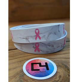 C4 Marble White Breast Cancer Ribbon Belt w/Buckle