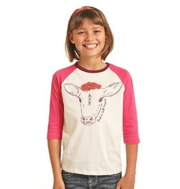 Rock and Roll Cowgirl RRCG Girls LS Tee Hot Pink