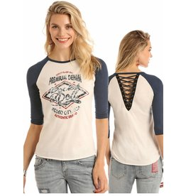 Rock and Roll Cowgirl RRCG Juniors 3/4 Sleeve Navy