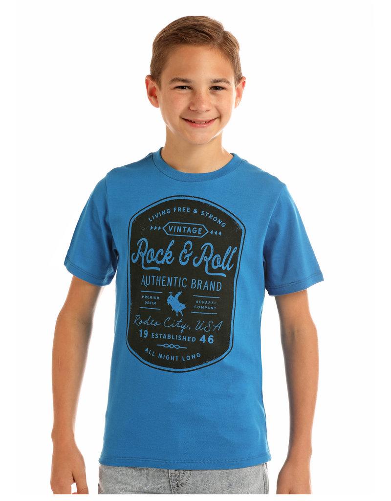Rock and Roll Cowboy RRCB Boys  SS Tee Blue