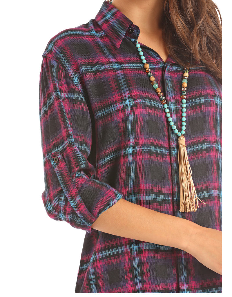 Panhandle Junior's Woven Plaid 3/4 Roll up Sleeve