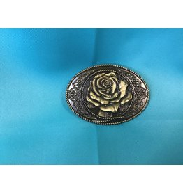Western Cowgirl Vintage Rose Belt Buckle Bronze