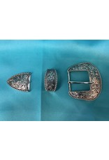 """Western Scroll with Rope 1.5"""" SP Belt Buckle Set"""