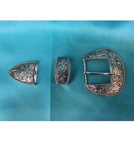 "Western Scroll with Rope 1.5"" SP Belt Buckle Set"