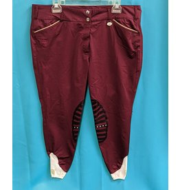 George H Morris GHM Silicone Kneepatch Breeches Wine 36