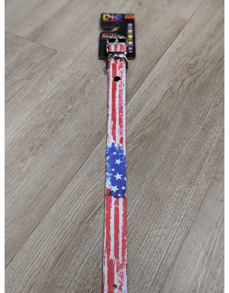 C4 Vintage Americana Flag Dog Collar Medium