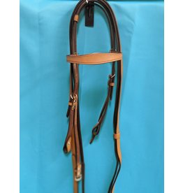 Bobby's English Tack Bobby's Western Leather Headstall w/ Browband and Split Reins