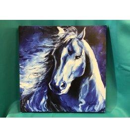 Horse Painting Blue Monochromatic