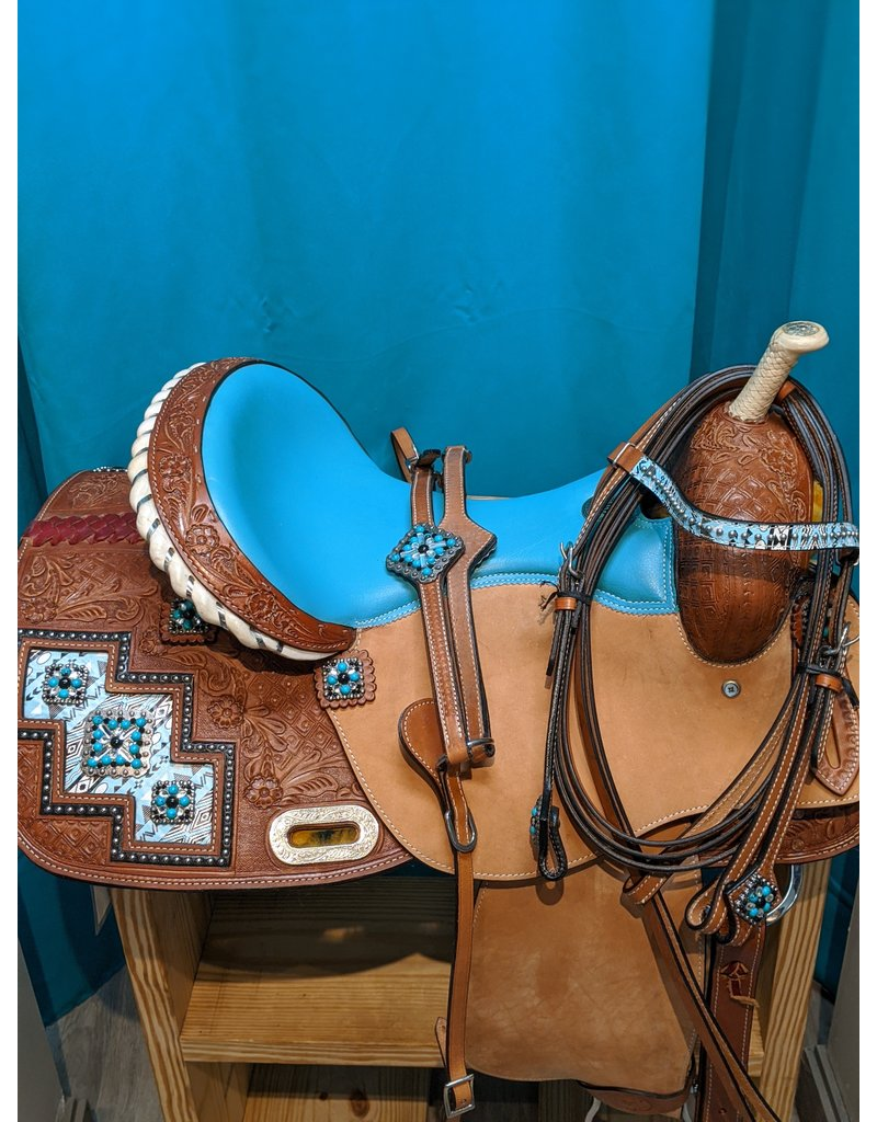 "Double T 16"" SQHB Double T Saddle w/ Matching Breast Collar and Bridle"