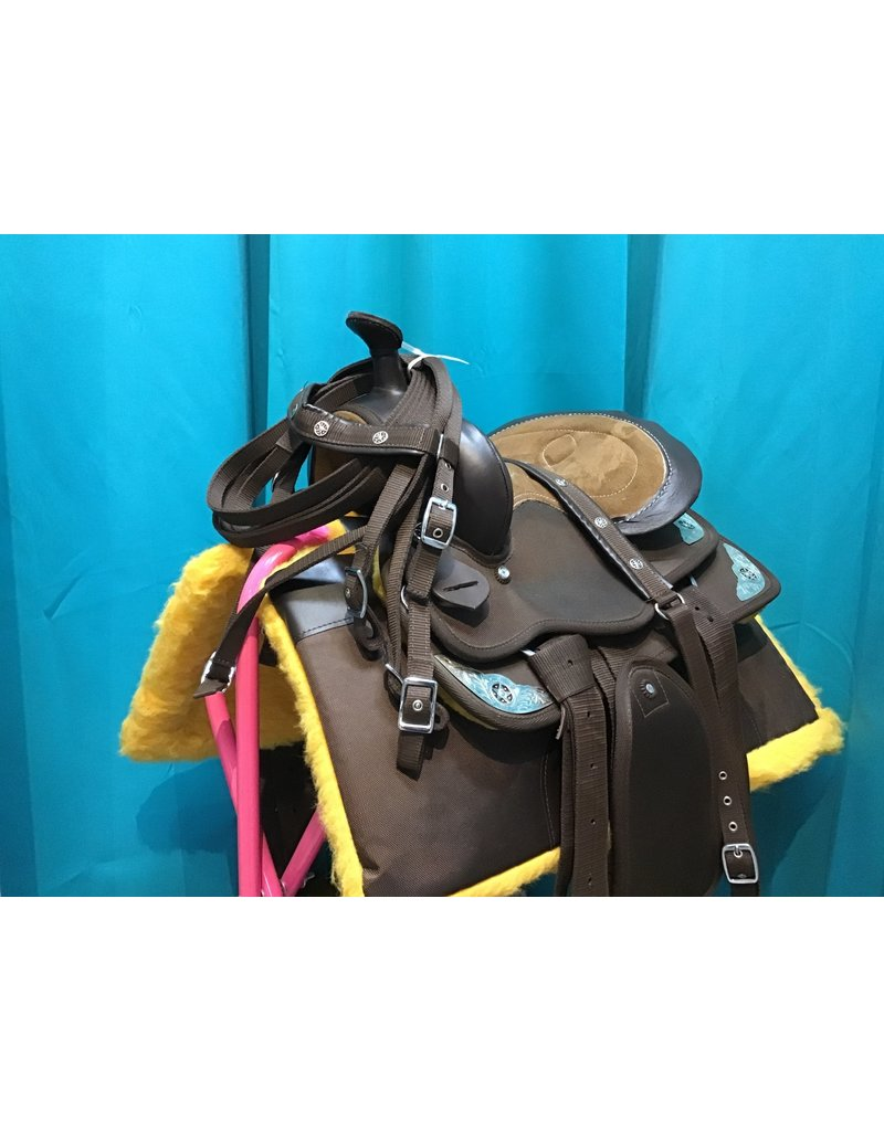 Western Synthetic Saddle 14.5 Seat 5.5 Gullet w/ Headstall and Pad
