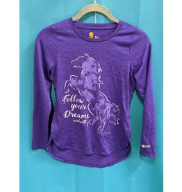 Carhart Purple Horse Shirt Kids M