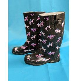 Black W/Pink Horse Rain Boots 8