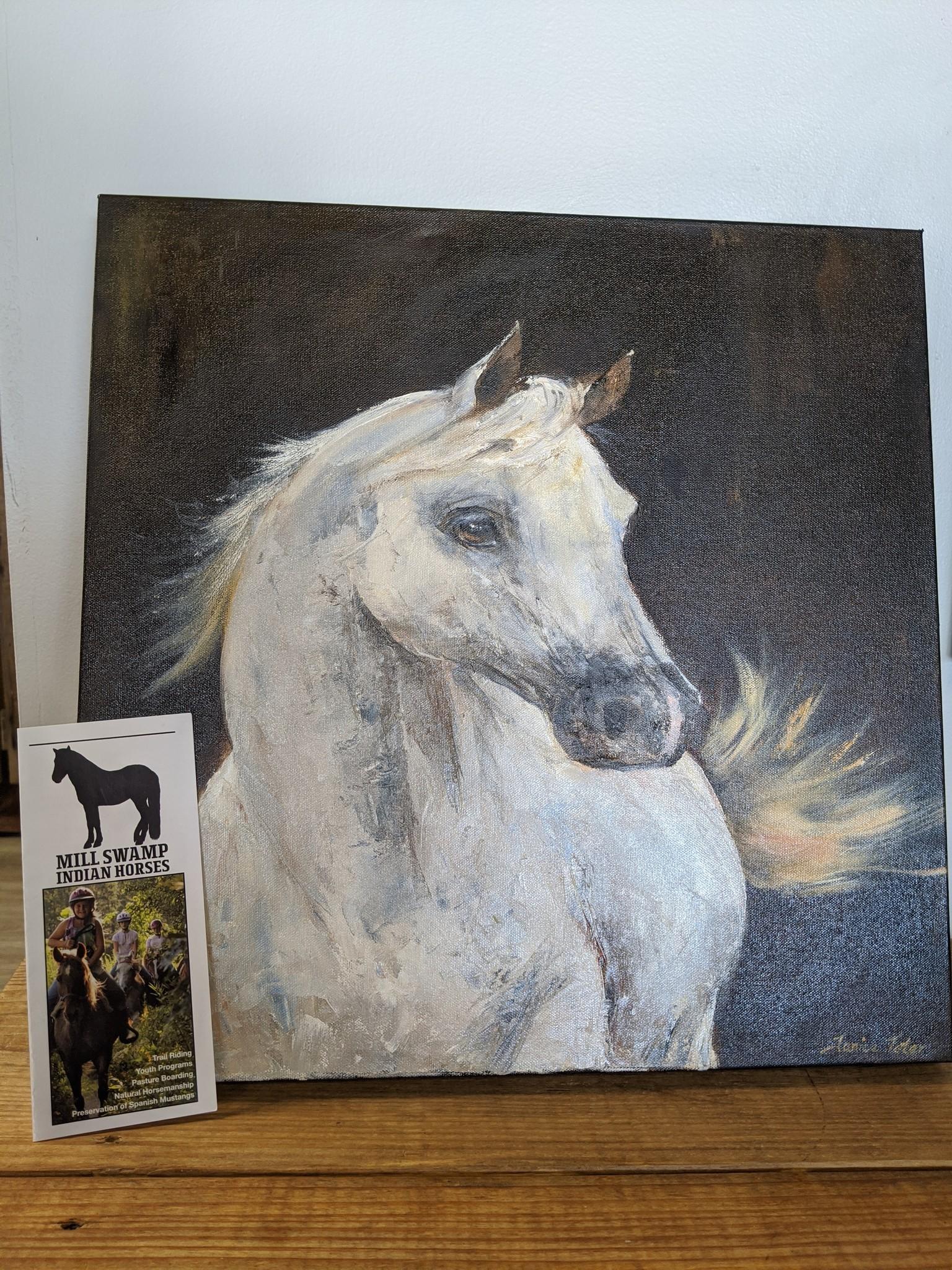 White Horse Oil Painting Original Cypress Saddlery