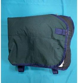 """Dark Green w/Blue Trim Medium Weight Blanket 76"""""""