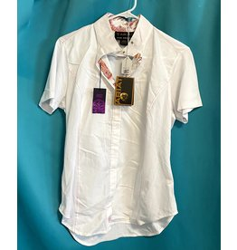 Ariat Show Shirt Short Sleeve White w/ pink Size 38