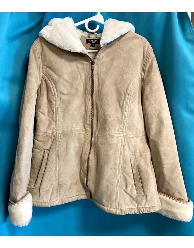 Sonoma Suede Fleece Jacket Tan Large
