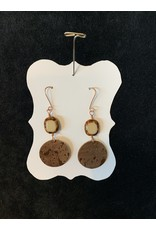 Leather Brown Round w/Tan & Brown Bead Earrings