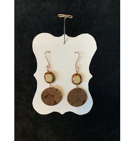 Leather Brown Round w/Tan & Brown Bead Earrings