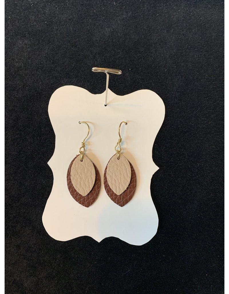 Leather Tan & Brown Leaf Earrings