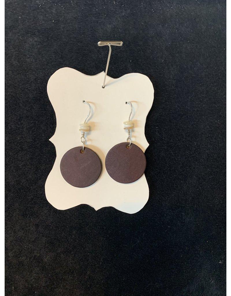Leather Dark Brown Round w/Flat Beads Earrings