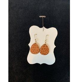 Leather Light Brown Teardrop Earrings