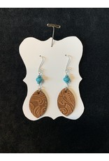 Leather Brown Leaf w/Turquoise Bead Earrings