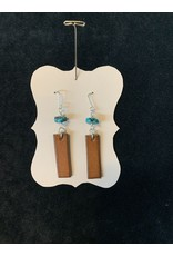 Leather Brown Rectangle w/Turquoise bead Earrings