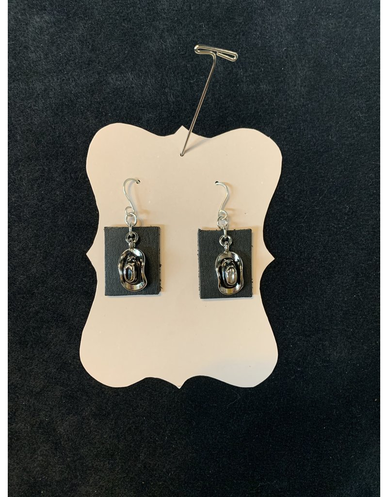 Leather Black Square w/Silver Earrings