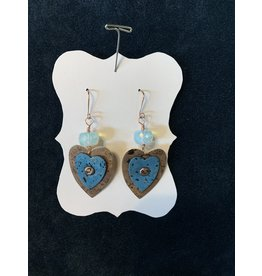Leather Brown and Blue Heart Earrings