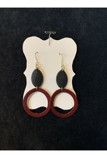 Leather Double Hung Black w/Brown Open Circle Earrings