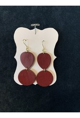 Leather Double Hung Brown Smooth Earrings