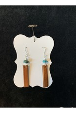 Leather Brown Rectangle w/ Turquoise Earrings