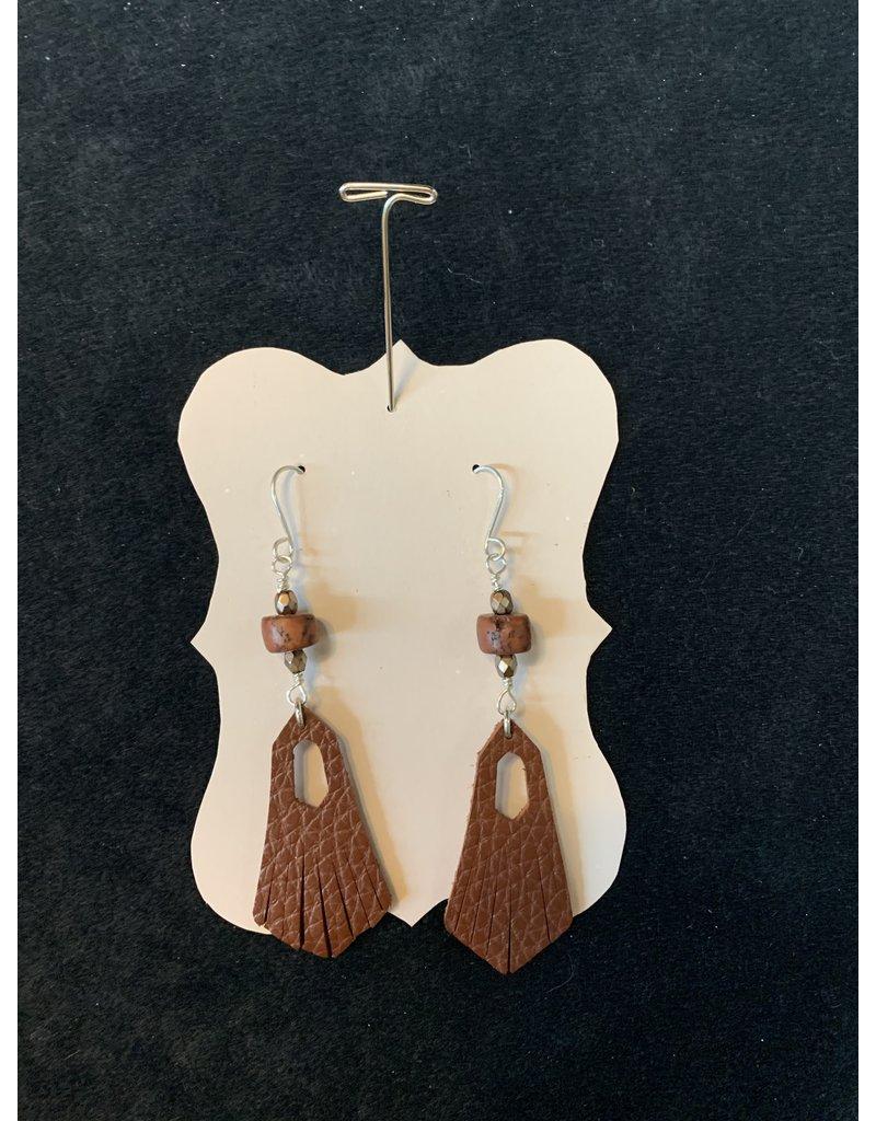 Leather Tassel w/Wooden Bead Earrings