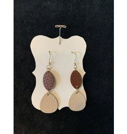 Leather Brown & Tan Earrings