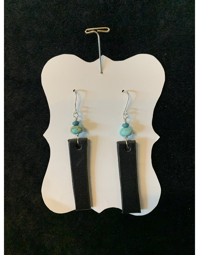 Leather Black Rectangle w/Turquoise Earrings