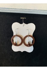 Leather Circle w/Red Bead Earrings
