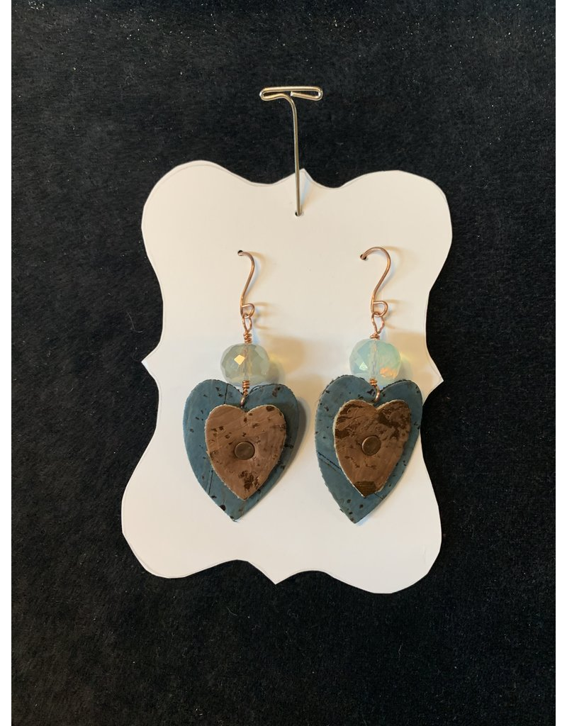 Leather Blue and Brown Heart Earrings