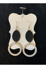 Leather Double Hung Black w/Tan Circle Earrings