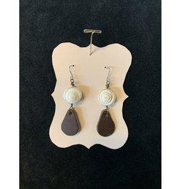 Leather Brown Teardrop w/Shell Earrings