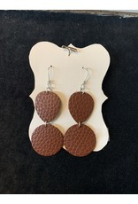 Leather Double Hung Brown Earrings