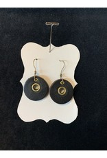 "Leather Round ""Washer"" Black Earrings"